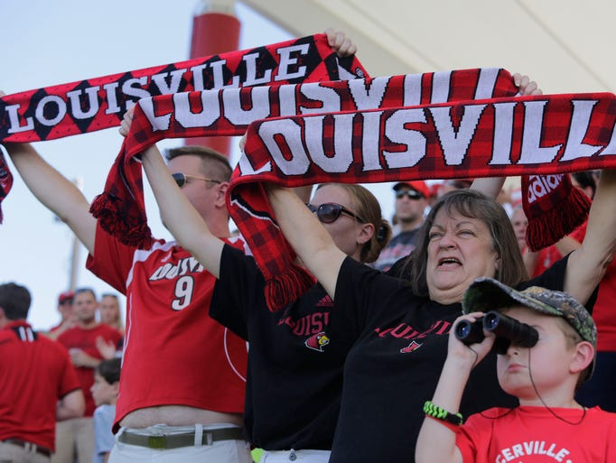 U of L women's soccer fans cheer for their team. August 29, 2014
