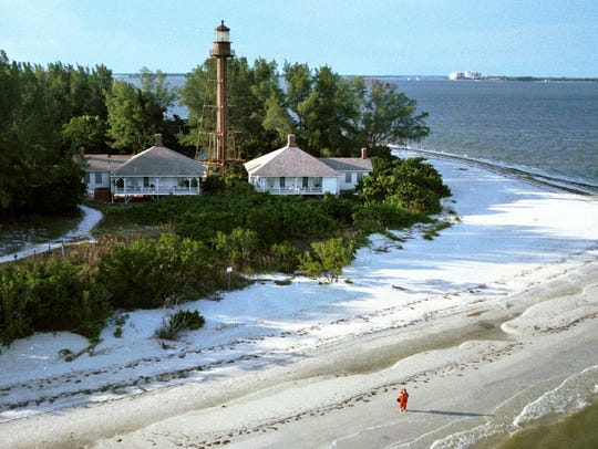 View of the Sanibel lighthouse from the Gulf of Mexico.