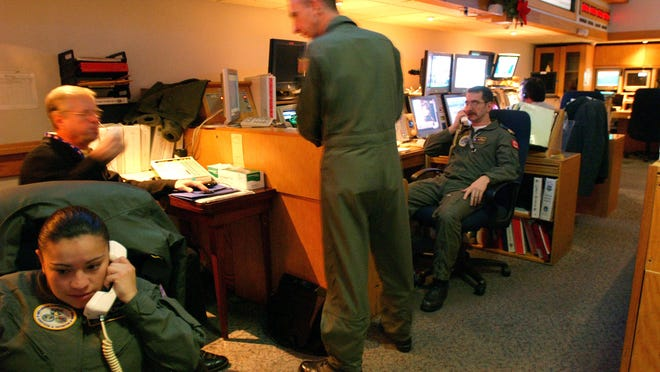 In December 2002, around-the-clock crews monitor U.S. skies from the command center of the Northern Command, located deep within Cheyenne Mountain at the foot of the Rocky Mountains near Colorado Springs, Co.