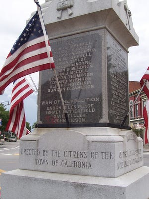 "The monument bears an inscription that reads ""Erected by the citizens of the town of Caledonia."""