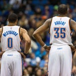 Jan 29, 2016; Oklahoma City, OK, USA; Oklahoma City Thunder forward Kevin Durant (35) and Oklahoma City Thunder guard Russell Westbrook (0) react after a play against the Houston Rockets at Chesapeake Energy Arena. Mandatory Credit: Mark D. Smith-USA TODAY Sports