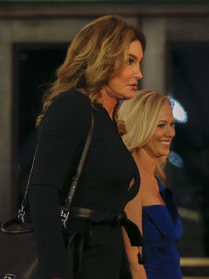 Caitlyn Jenner (front) arrives for the Candlelight Dinner at Union Station in honor of President-elect Donald J. Trump, one day before Trump was sworn in as the 45th President of the United States.