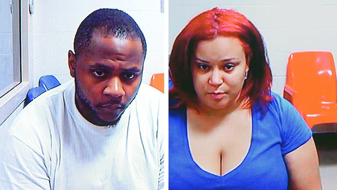 Andrew Mack Johnson Jr., left, and Dymond Leana Squires appear via video at their arraignment of hearing Monday at the Eaton County District Court.