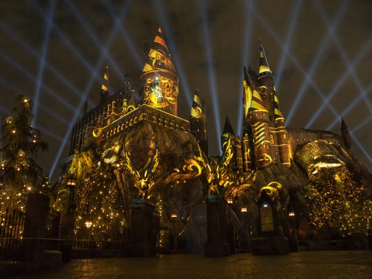"""The Nighttime Lights at Hogwarts Castle"" at ""The Wizarding World of Harry Potter."""
