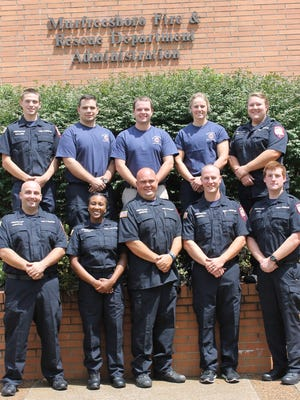 New recruits to the fire department include, front row, from left: Kevin Madachik, Tiara Green, Robert Gingrow, Thomas Gunnell, and Adam Ross. Back row: Brenner Ballard, Jacob Nance, James Ray, Gianna Bacchetti, and Betsy Prusynski