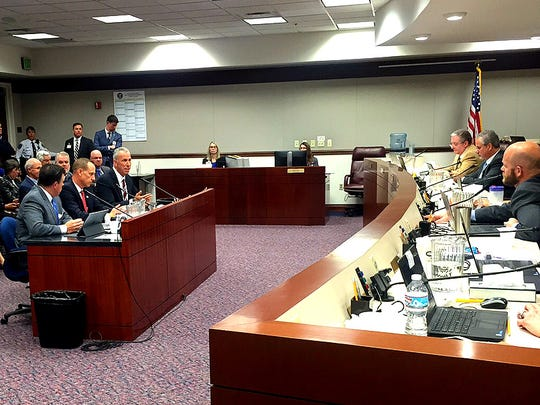 Clark County District Attorney Steve Wolfson, Washoe County District Attorney Chris Hicks and Clark County Assistant District Attorney Christopher Lalli speak about the importance of keeping the death penalty at a legislative hearing on March 29, 2017.