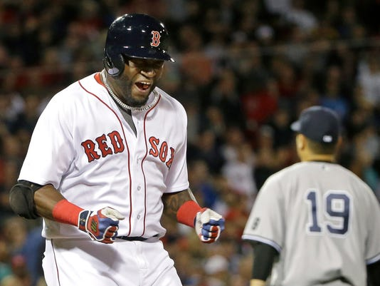 Boston Red Sox designated hitter David Ortiz reacts after grounding out against New York Yankees starting pitcher Masahiro Tanaka (19) to end the fifth inning of a baseball game at Fenway Park, Thursday, Sept. 15, 2016, in Boston. (AP Photo/Elise Amendola)