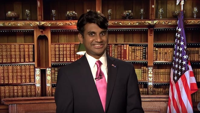 Screengrab from The Tonight Show with Jimmy Fallon shows Aziz Ansari impersonating Gov. Bobby Jindal