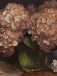 Hydrangeas in Green Vase