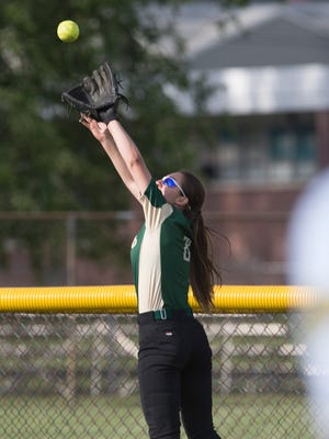 JP Stevens Kayla Stevens catches a long fly ball at the fence for a seventh inning out that kept her team's 1-0 lead. JP Stevens vs South Plainfield Softball in South Plainfield, NJ on May 11, 2016.