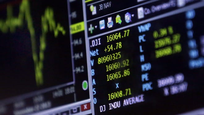 A screen at a trading post on the floor of the New York Stock Exchange shows the closing number for the Dow Jones industrial average Friday.