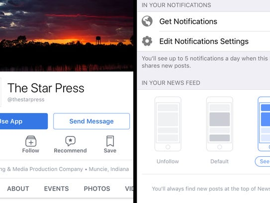 Left: The Mobile Facebook Page that shows the Follow