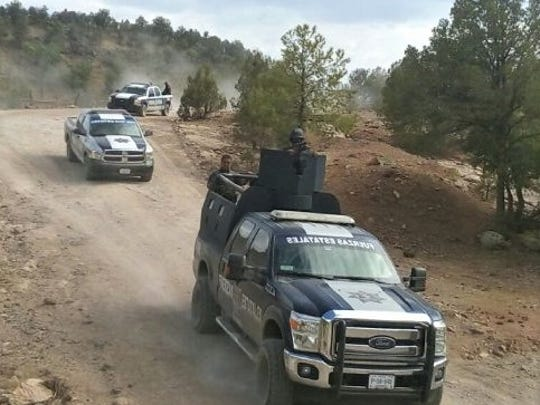 Chihuahua state police forces patrol in the western part of the state.