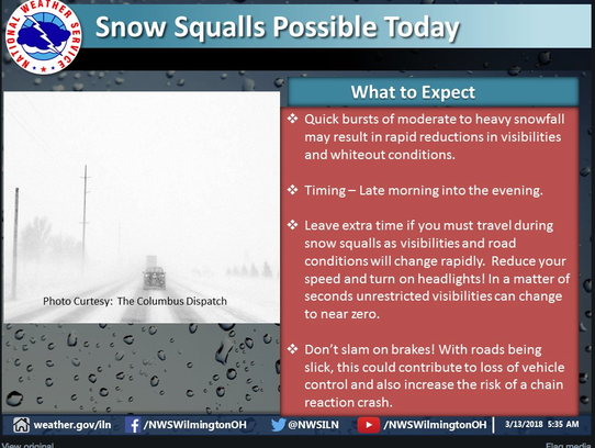 Snow squalls possible Tuesday