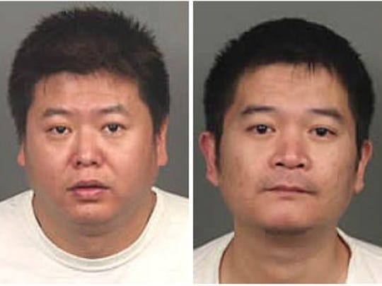 An illegal marijuana grow was discovered at a Rancho Mirage home near Florentina and Vistara drives. Authorities arrested two suspects identified as Zhong Jian Yang (left) and Yonghau Yang.