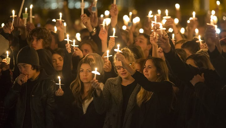 A candlelight vigil at NAU in Flagstaff after the shooting