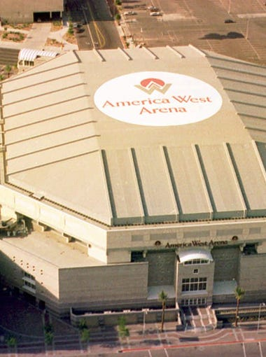 The America West Arena, home of the Phoenix Suns basketball team, in downtown Phoenix, Arizona, as seen from above in June 1994.