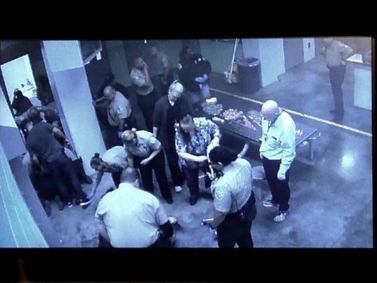 Footage of the aftermath of the inmate attack.
