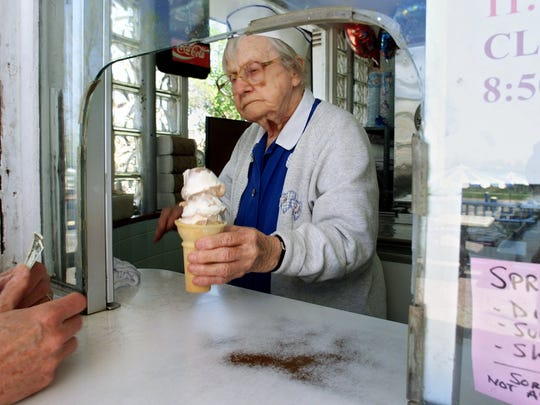 Elinor Stingley, the cone lady at the Original Frozen Custard, was a Lafayette institution. She died in 2009 at age 101.