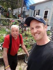 Lee Golden (left) and Jason Fetcher get a selfie Monday.