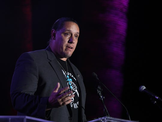 Agua Caliente Band of Cahuilla Indians chairman Jeff Grubbe speaks during the Dinner in the Canyons event in Palm Springs on Saturday, October 8, 2016.
