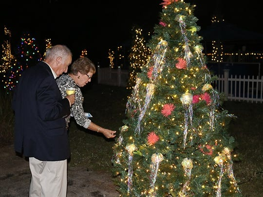Guests admire on of the spectacular trees at Lights on the Lagoon.