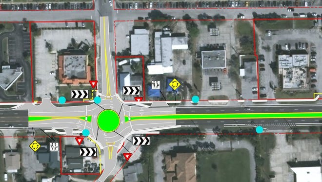 This graphic depicts the proposed Burns Boulevard roundabout on Eau Gallie Boulevard.