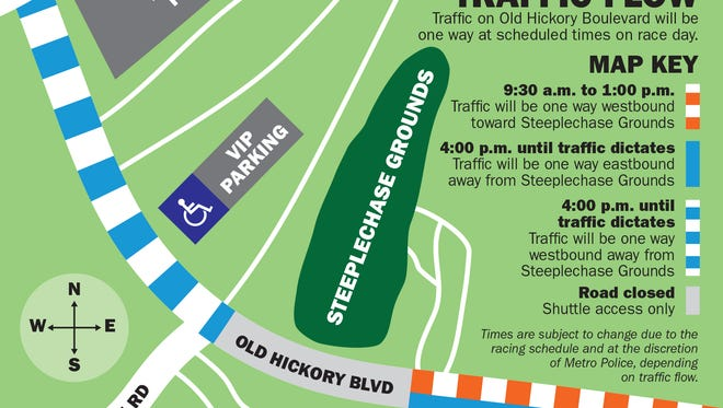 A map details road closures during the Iroquois Steeplechase May 13, 2017.