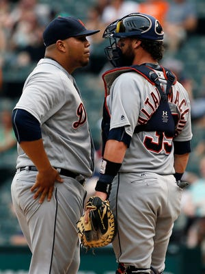 Detroit Tigers relief pitcher Bruce Rondon kept Boston Red Sox batters at bay in the seventh inning.