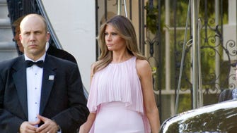 Melania Trump departs the White House to attend the wedding of Steven Mnuchin and Louise Linton.