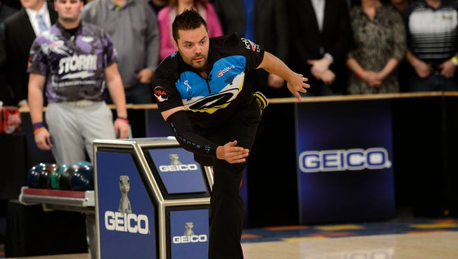 Australia's Jason Belmonte throws his last ball to win the 2015 United States Bowling Congress Masters finals at the Ashwaubenon Bowling Alley in Ashwaubenon on Sunday, Feb. 8, 2015. Evan Siegle/Press-Gazette Media
