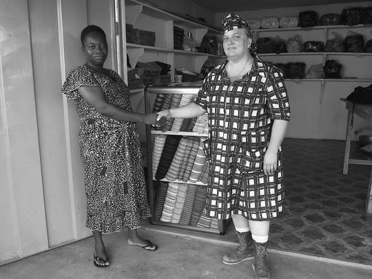 INSET: Artist Carole Frances Lung as Frau Fiber in Ghana. She comes to the Center for Craft, Creativity & Design through July 25.Courtesy of the artist/Special to the Citizen-Times