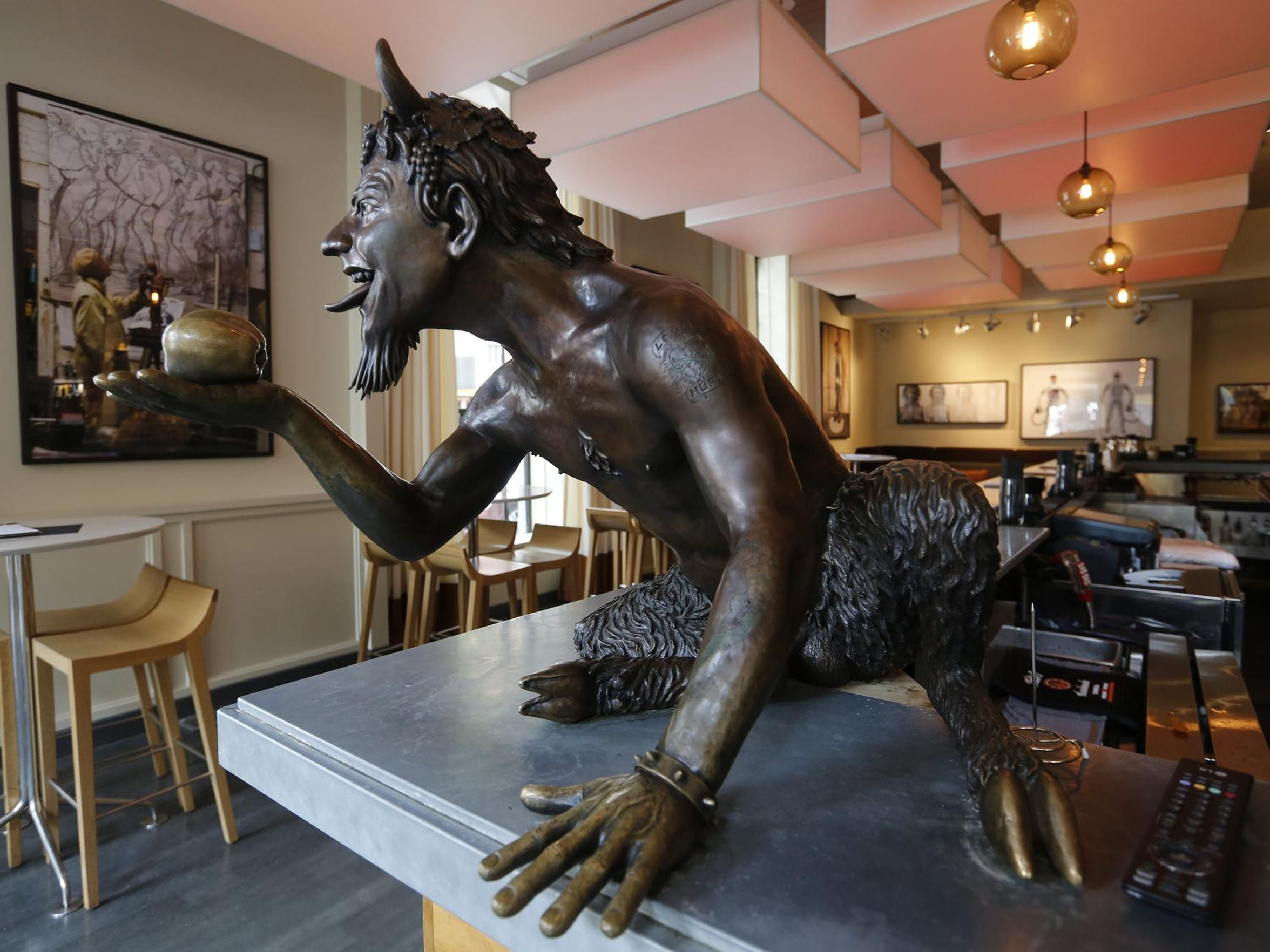 A bronze sculpture at the Proof on Main restaurant