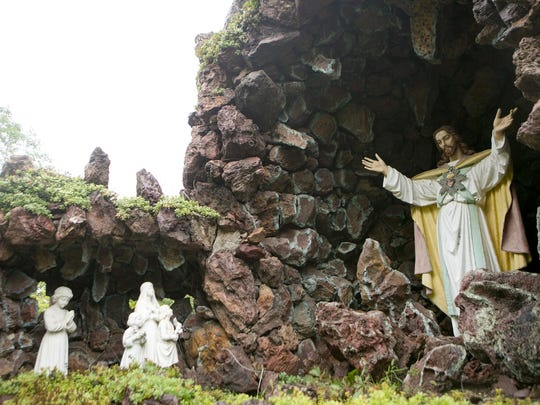 The Sacred Heart Shrine sits on top of the Wonder Cave at the Rudolph Grotto Gardens.