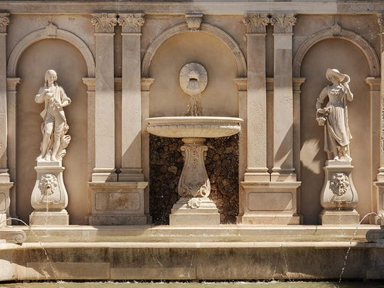 The fountains are set within a restored five-acre Classical Revival garden.