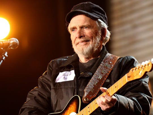 Country singer Merle Haggard, shown here last January rehears ing for an ap pear ance at  the Grammy Awards in Los Angeles, will play Monday night at Ste phens Auditor ium in Ames. The 77-year-old performer said there are 500 songs his band might pull from, but he lets the feel of the night dictate which songs he will play in a show.