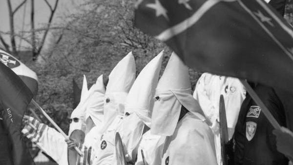 The Klu Klux Klan holds a rally on the steps of the Lebanon Municipal building on April 24, 1999.
