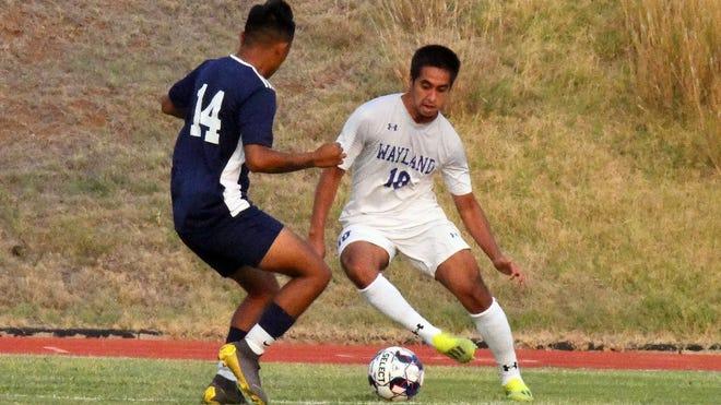 Wayland Baptist men's soccer player Hector Romero (right) scored five goals in an 11-0 win over Ecclesia College (Arkansas) last week.