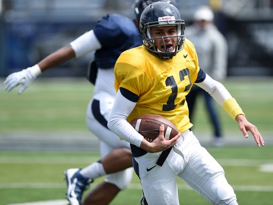 Nevada's Cristian Solano, shown during the 2015 spring game, has moved up the depth chart.