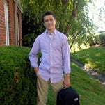 Grant Russell, 13, models back to school clothes.  July 31, 2015
