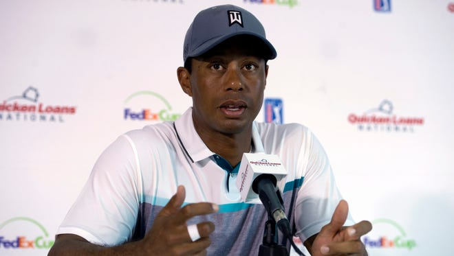 Tiger Woods during a press conference at Robert Trent Jones Golf Club in Gainesville, Va., on July 28, 2015.