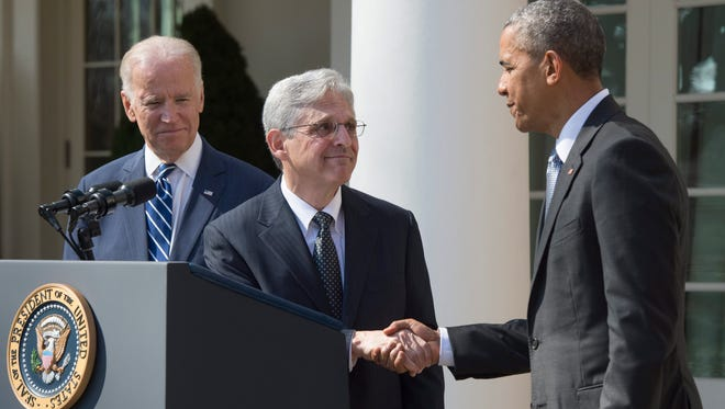 President Barack Obama  shakes hands with his nominee to the Supreme Court Merrick Garland, chief judge, US Court of Appeals, D.C. Circuit, in the Rose Garden of the White House on Wednesday. Obama is nominating Judge Garland to fill the vacancy created by the death of Associate Justice Antonin Scalia. Republican leadership in the Senate has stated they will not consider any person nominated by Obama.