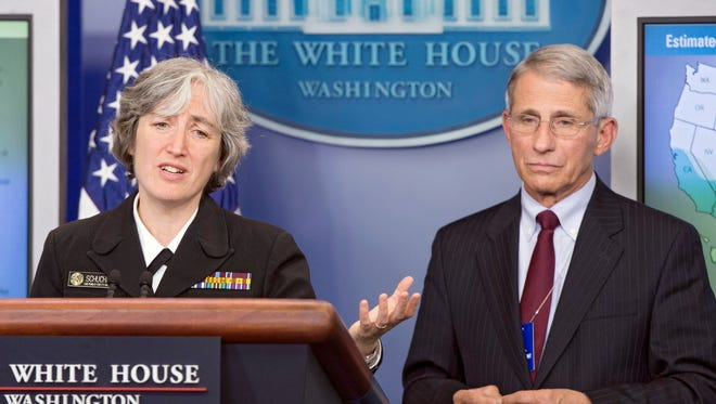 Dr. Anne Schuchat, principal deputy director of the Centers for Disease Control and Prevention, and Dr. Anthony Fauci, Director of the National Institute of Allergy and Infectious Diseases, urged Congress to pass a $1.9 billion budget request at the White House April 11.