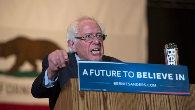 Democratic Presidential candidate Bernie Sanders speaks during his campaign event in Sacramento, Calif. on May 9, 2016.