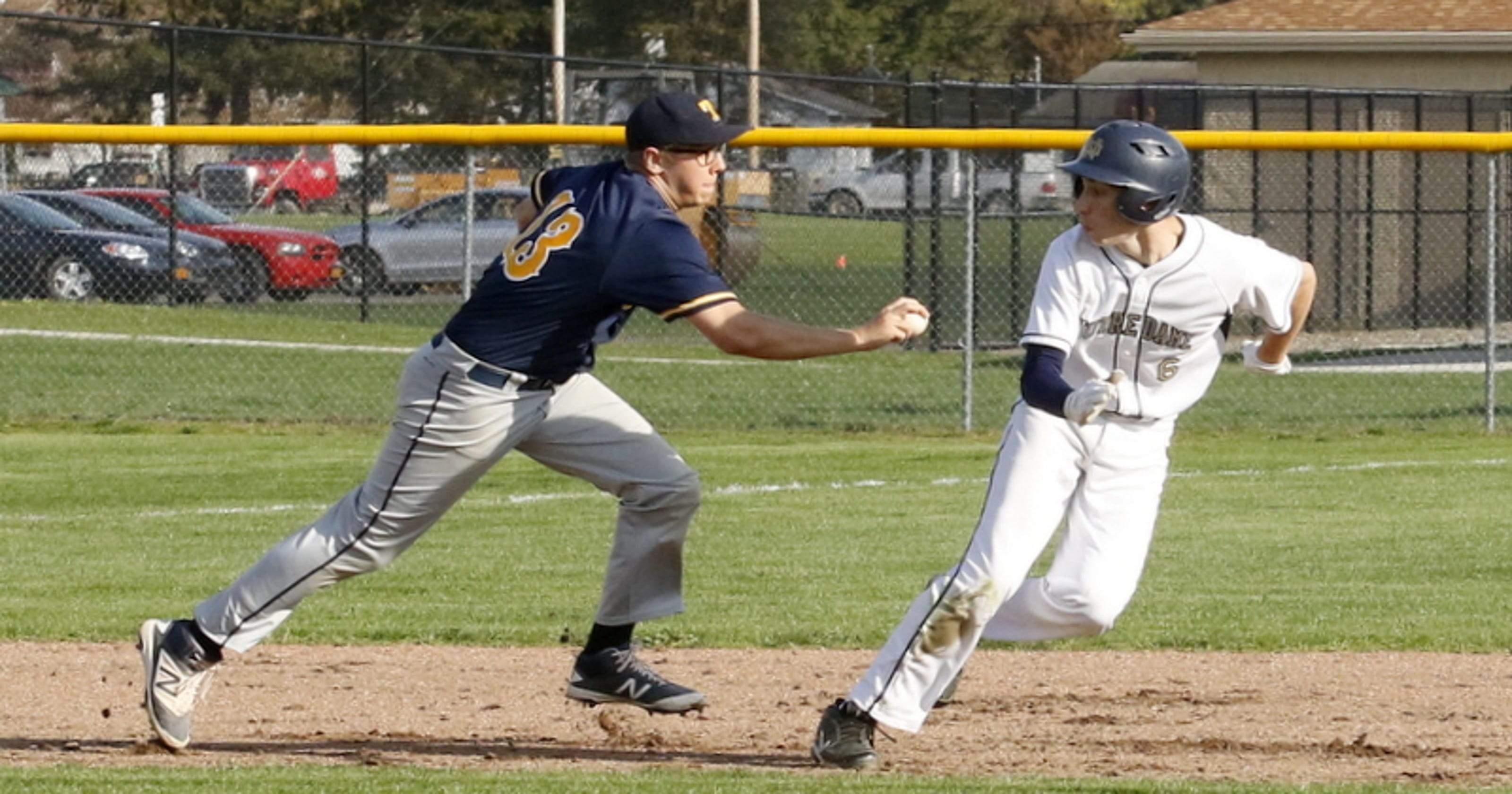 purchase cheap 1a835 c7b51 Notre Dame stops Tioga in baseball