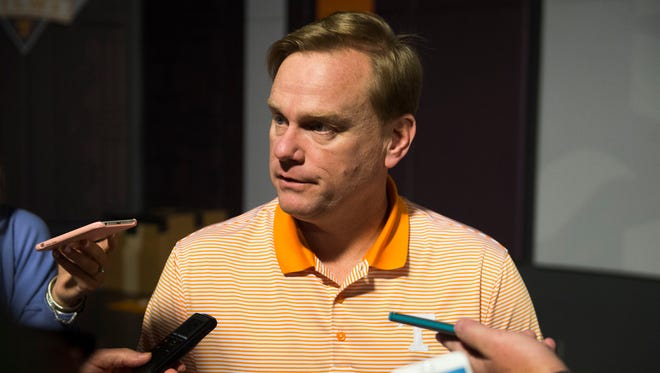 Walt Wells, University of Tennessee's new offensive line coach speaks to the media in the Ray & Lucy Hand Digital Studio on UT's campus on Tuesday, March 7, 2017.