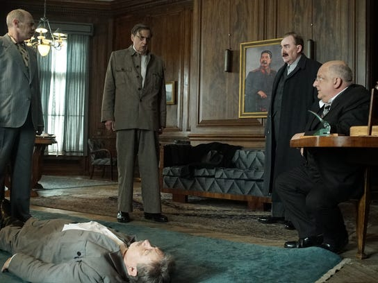 "Steve Buscemi as Khrushchev, Adrian McLoughlin as Stalin, Jeffrey Tambor as Malenkov, Dermot Crowley as Kaganovich, and Simon Russell Beale as Beria in Armando Iannucci's ""The Death of Stalin."""