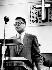 The Rev. James Lawson talks about the lunch counter sit-ins during a meeting at Gordon Memorial Methodist Church in Nashville in March of 1960.