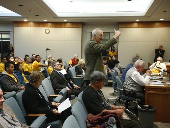 Former mayor of Santa Fe, David Coss speaks on behalf