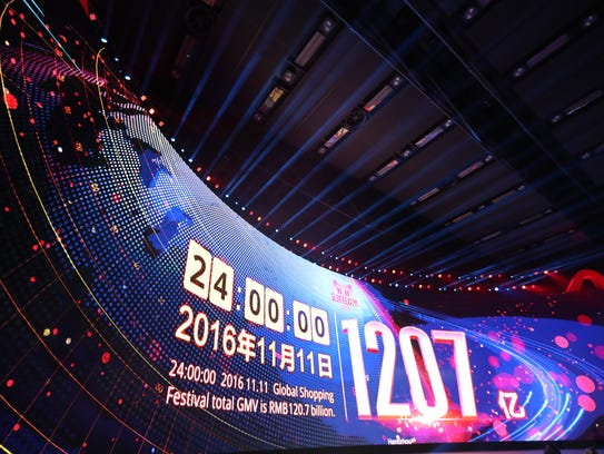The final sales screen at the end of Alibaba's 2016